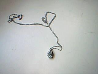 Synthetic Aquamarine Diamond & Stone Necklace .01 CT. 925 Silver 1.1g