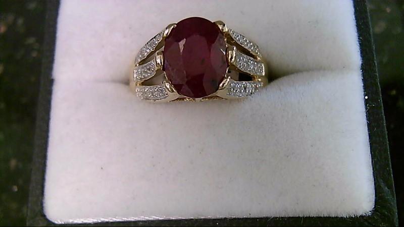 July Birthstone Genuine Oval Cut Ruby and Diamond Lady's Ring