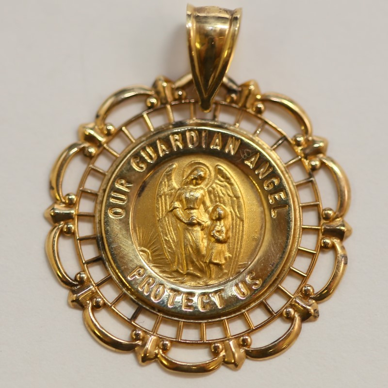 """""""Our Guardian Angel Protect Us"""" Religious 14K Yellow Gold Pendant"""
