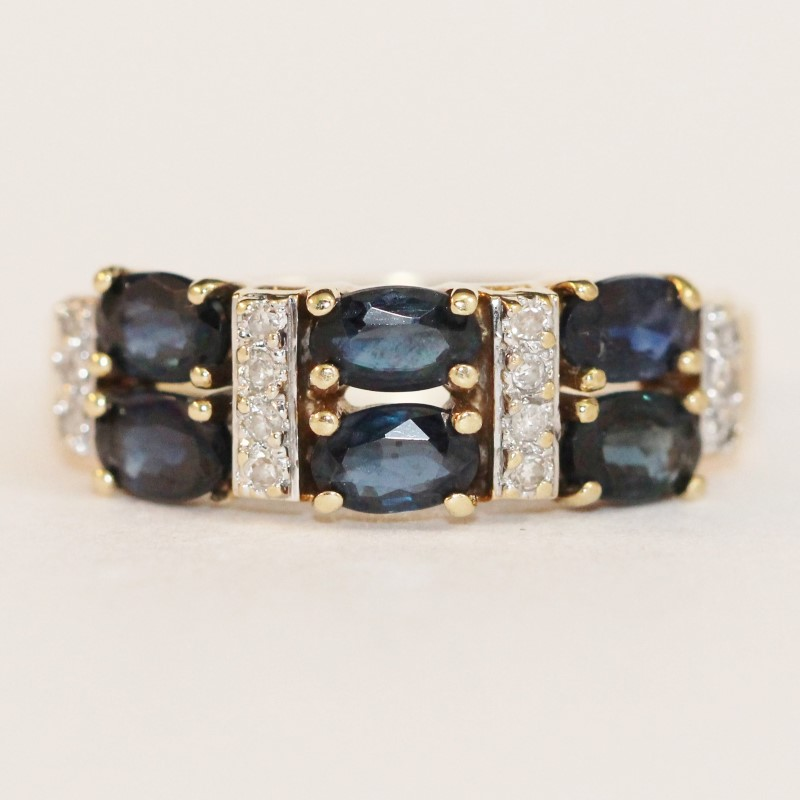 14K Yellow Gold Sapphire and Diamond Ring Size 7