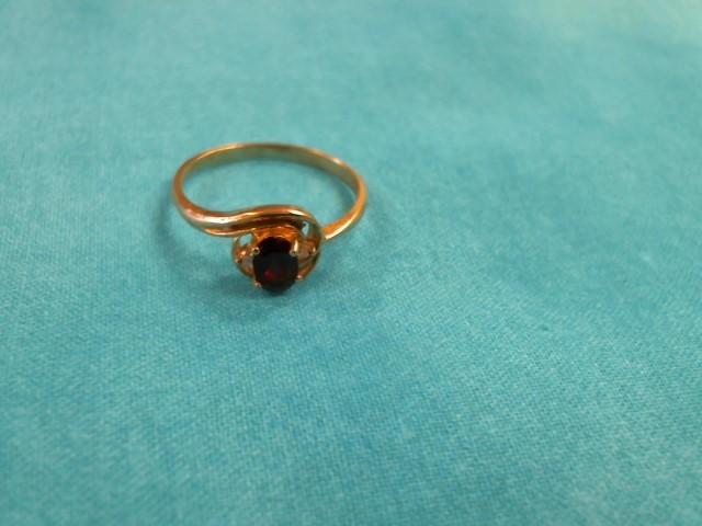 Red Stone Lady's Stone & Diamond Ring 2 Diamonds .04 Carat T.W. 10K Yellow Gold