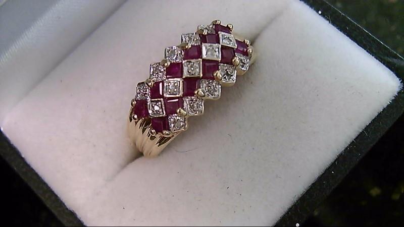 July Birthstone Genuine Ruby Lady's Stone & Diamond Cluster Ring