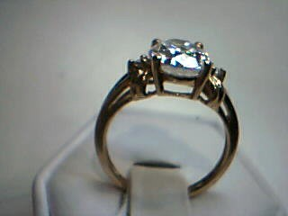 White Stone Lady's Stone Ring 14K Yellow Gold 3.6g Size:7