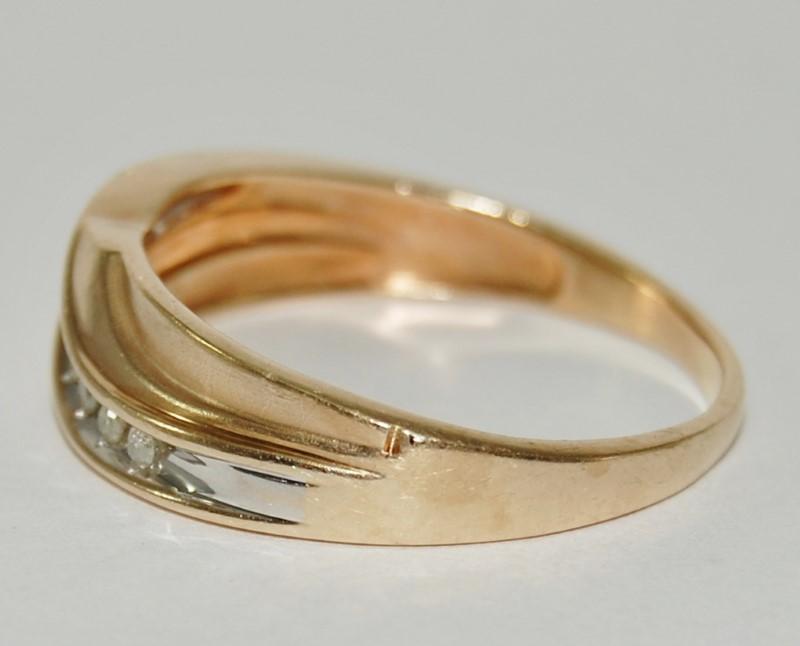 Men's 10K Yellow Gold Wave Inspired Diamond Wedding Band Ring sz 12.5