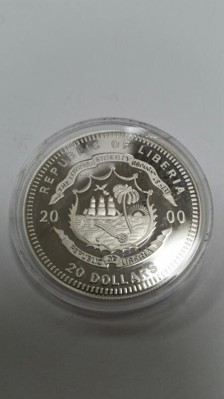 AMERICAN MINT REPUBLIC OF LIBERIA $20.00 SILVER COIN GEORGE BUSH