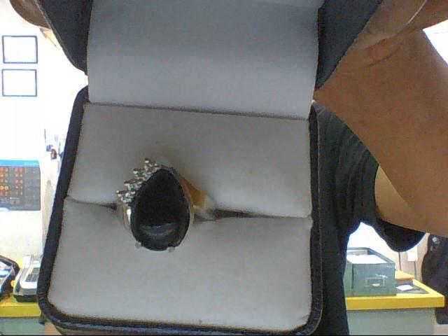 Black Stone Lady's Stone & Diamond Ring 4 Diamonds .08 Carat T.W.
