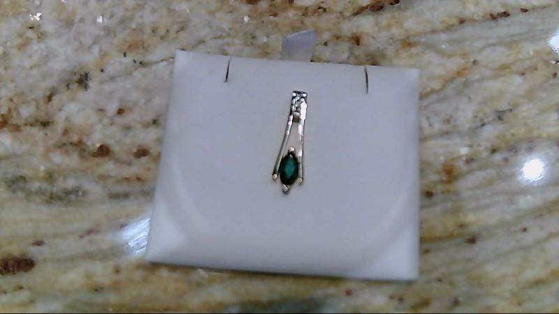 Synthetic Emerald Gold-Diamond & Stone Pendant 3 Diamonds .03 Carat T.W.