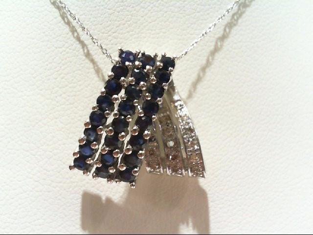 Sapphire Gold-Diamond & Stone Pendant 13 Diamonds .13 Carat T.W. 14K White Gold