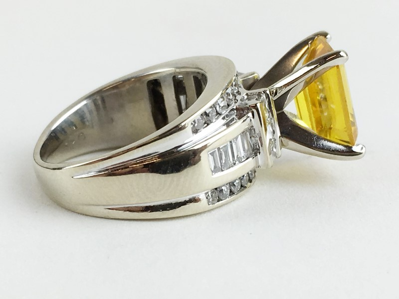 Citrine & Diamond Ring 40 Diamonds 1.06 Carat T.W. 14K White Gold
