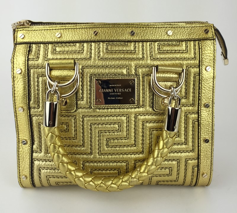 GIANNI VERSACE COUTURE GREEK KEY GOLD SATCHEL