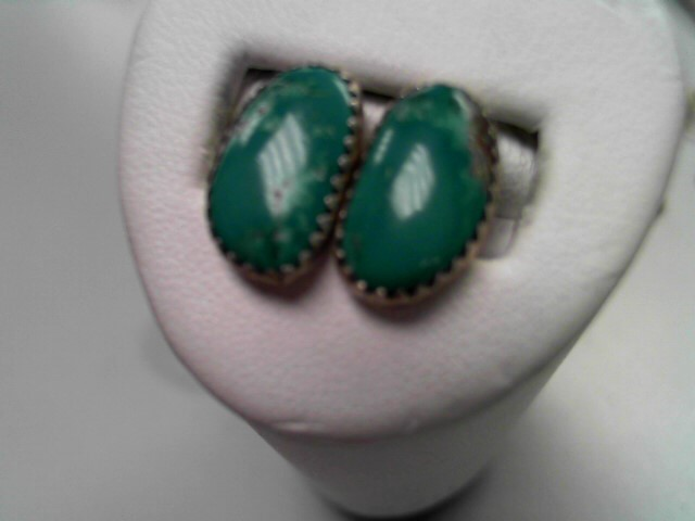 Synthetic Turquoise Silver-Stone Earrings 925 Silver 2.9g