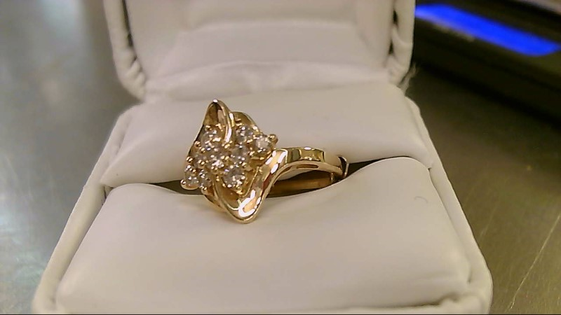 Lady's Diamond Cluster Ring 9 Diamonds .62 Carat T.W. 14K Yellow Gold 4.28g