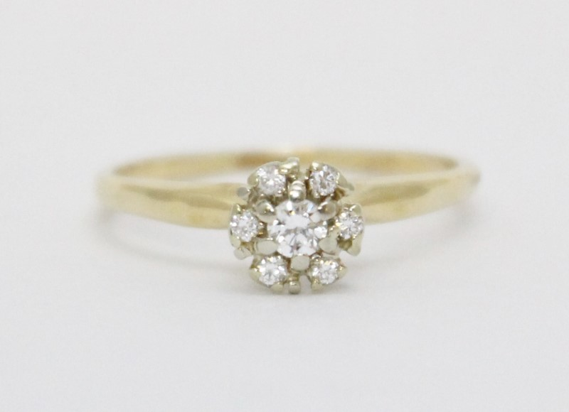 14K Yellow Gold Floral Vintage Inspired Diamond Cluster Engagement Ring sz 7.25