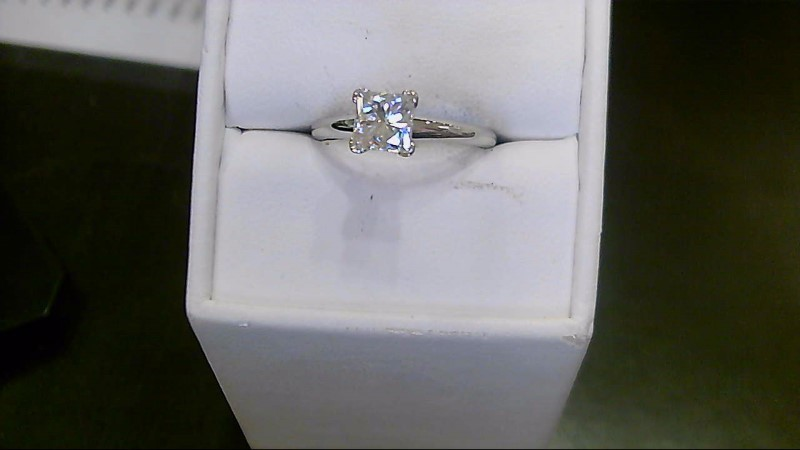 White Stone Lady's Stone Ring 14K White Gold 2.5g