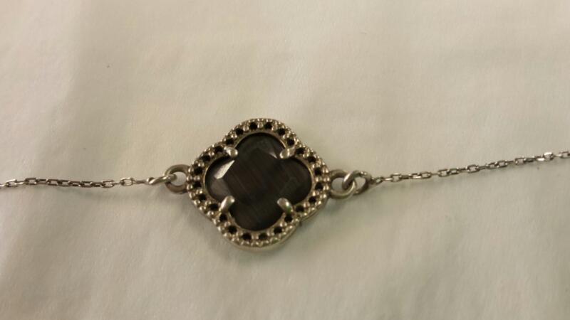 DYADENA Black Stone Silver-Stone Bracelet 925 Silver 1.97dwt
