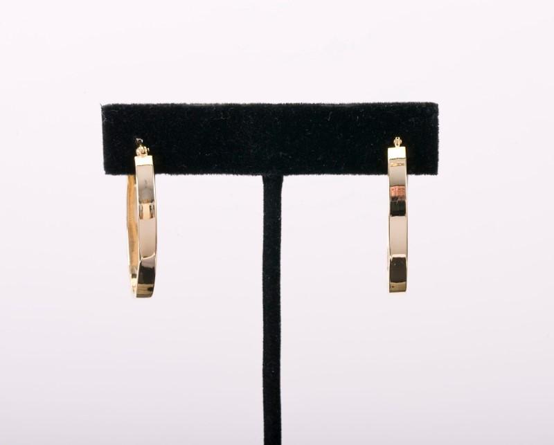 Gold Earrings Oblong Hoops 14K Yellow Gold 2.6g