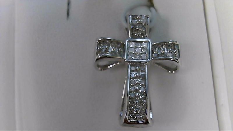 1/2 CTTW Diamond 14K White Gold Cross Pendant