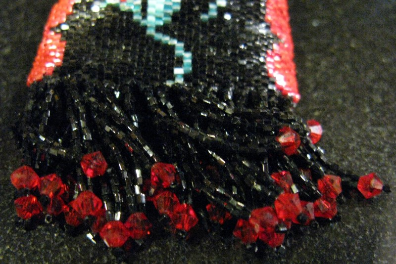 HANDMADE MEDICINE BAG - TRINKET -  BLACK & RED, 3 BEADED ROSES WITH FRINGE 1.75""