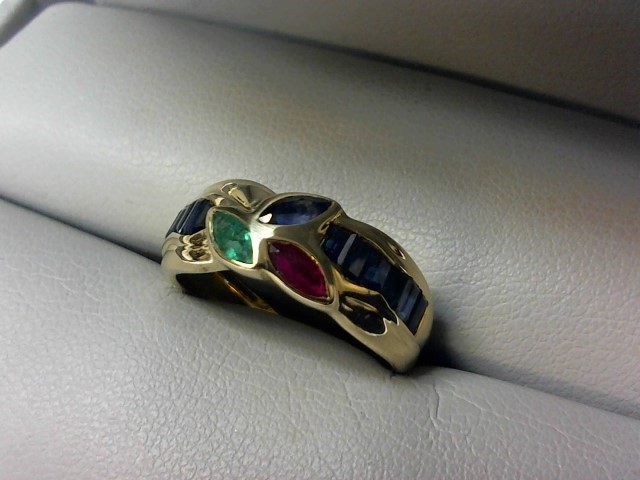 Sapphire Lady's Stone Ring 14K Yellow Gold 3.7g Size:6.5