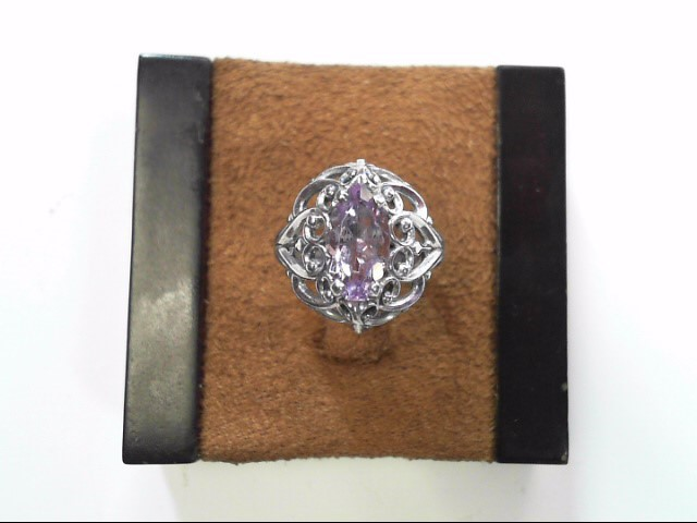 Purple Stone Lady's Silver & Stone Ring 925 Silver 2.3dwt