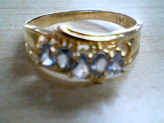 Synthetic Aquamarine Lady's Stone Ring 14K Yellow Gold 3.4g Size:11.5