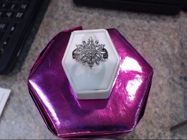 Lady's Diamond Cluster Ring 23 Diamonds .69 Carat T.W. 10K Yellow Gold 3.35dwt