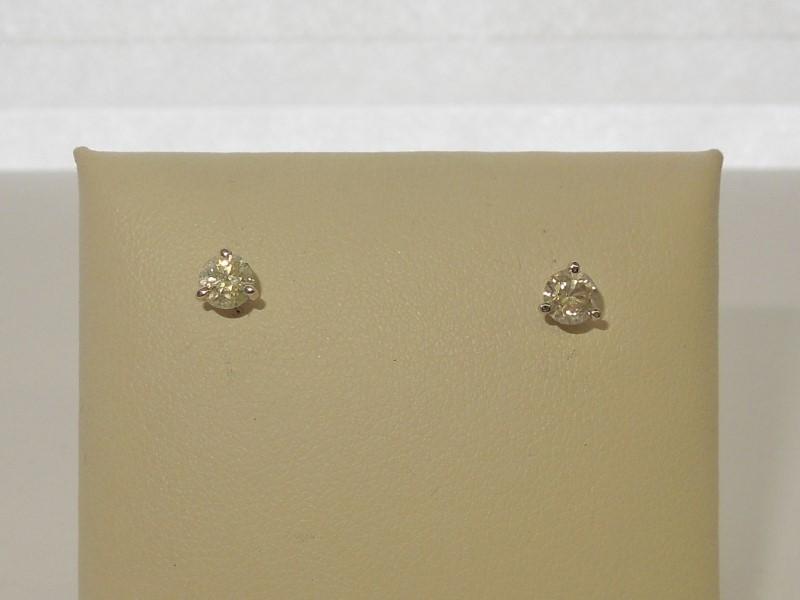 Gold-Diamond Earrings 2 Diamonds .46 Carat T.W. 14K White Gold 0.6g