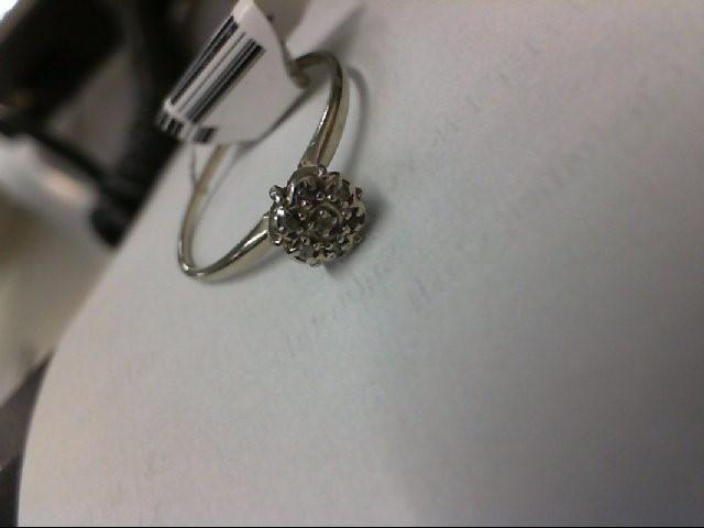 Lady's Diamond Cluster Ring 3 Diamonds .03 Carat T.W. 10K White Gold 1g