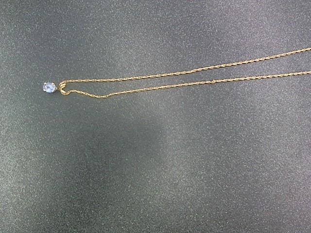 Purple Stone Stone Necklace 14K Yellow Gold 3.2g
