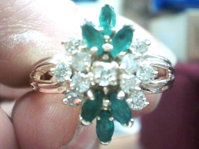 Green Stone Lady's Stone & Diamond Ring 11 Diamonds .33 Carat T.W.
