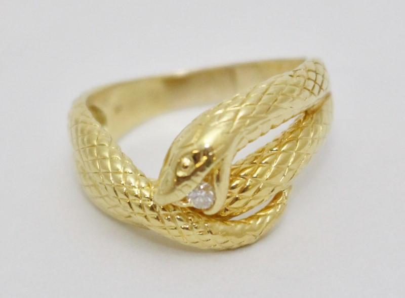18K Yellow Gold Slithering Snake Serpent Diamond Statement Ring sz 8.5