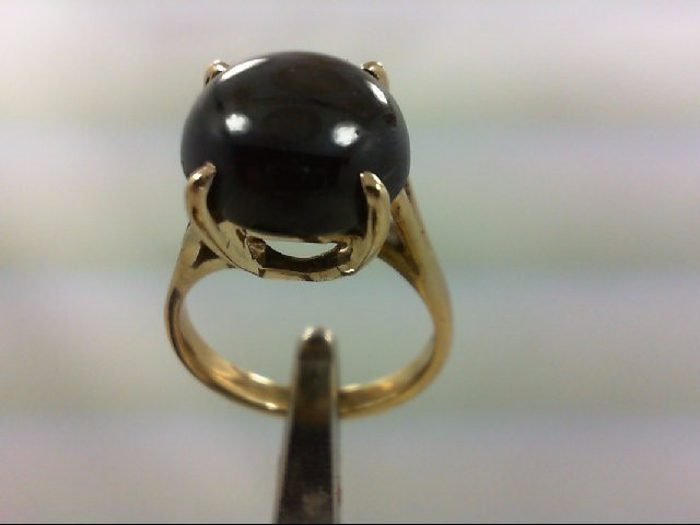 Black Star Sapphire Lady's Stone Ring 14K Yellow Gold 2.6g