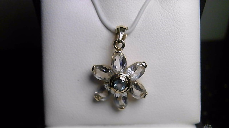 Lady's 14k yellow gold oval white cubic zirconia/round blue topaz pendant