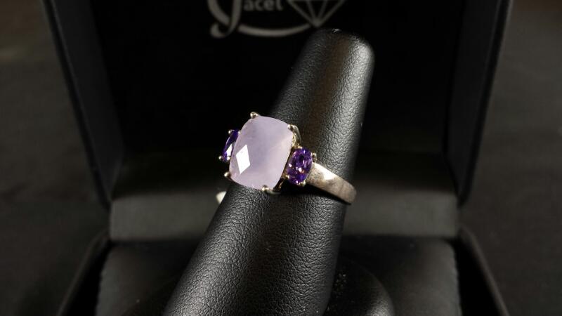 Cushion Purple Quartz Lady's Silver & Stone Ring 925