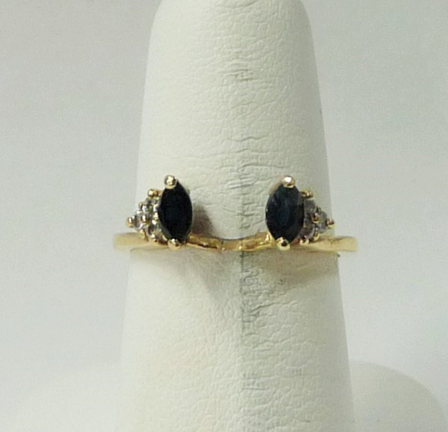 Lady's Gold-Diamond Ring Guard 6 Diamonds .12 Carat T.W. 14K Yellow Gold