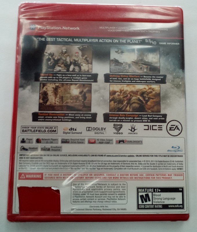 SONY PLAYSTATION 3 GAME PS3 BATTLEFIELD BAD COMPANY 2