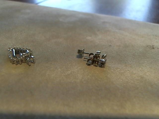 Gold-Diamond Earrings 8 Diamonds .08 Carat T.W. 14K White Gold 0.9g