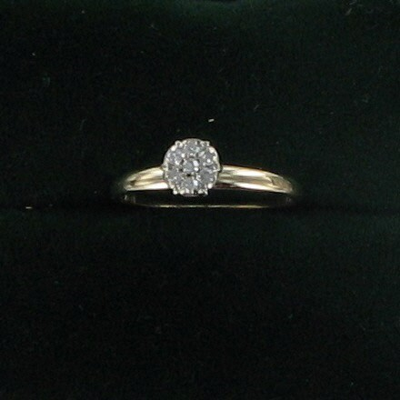 Lady's Diamond Engagement Ring 7 Diamonds .07 Carat T.W. 14K Yellow Gold 1dwt