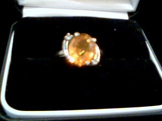 Yellow Stone Lady's Stone Ring 10K Yellow Gold 2.8g Size:6