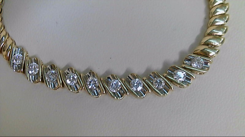 Gold-Diamond Bracelet 10 Diamonds 1.00 Carat T.W. 18K Yellow Gold 15g