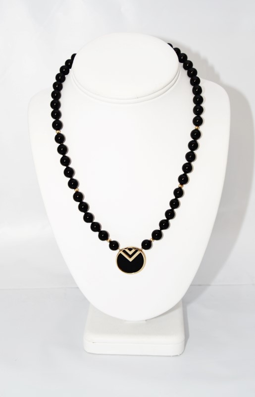 """17"""" Gold Toned Black Beaded V Circle Statement Necklace"""