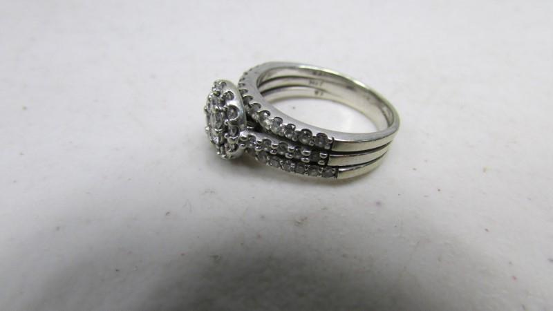 Lady's Diamond Cluster Ring 37 Diamonds .57 Carat T.W. 14K White Gold 5.64g