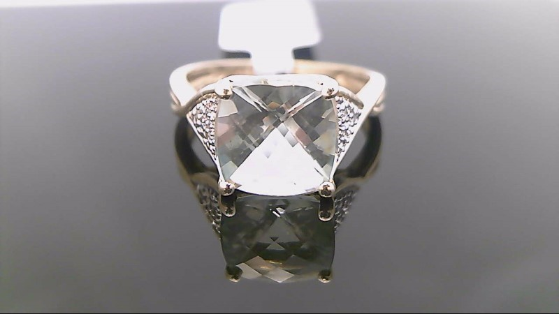 10k yellow gold green amethyst and diamond ring