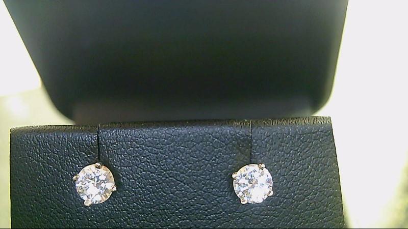 Gold-Diamond Earrings 2 Diamonds .56 Carat T.W. 14K Yellow Gold 2g