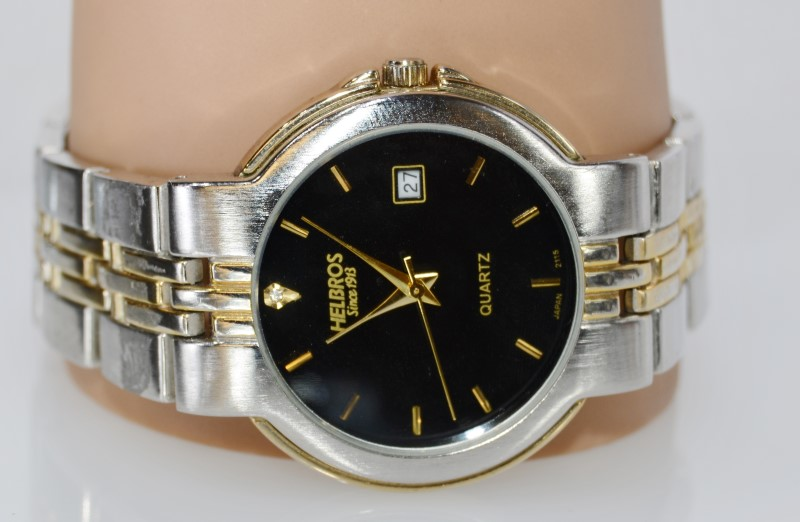 Helbros Stainless Steel Two-Tone Black Face Date Japan Watch 2115
