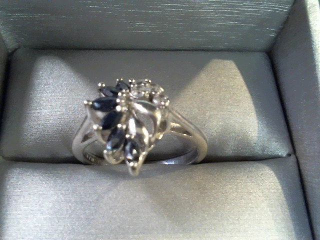 Synthetic Sapphire Lady's Silver & Stone Ring 925 Silver 3.9g Size:9.5