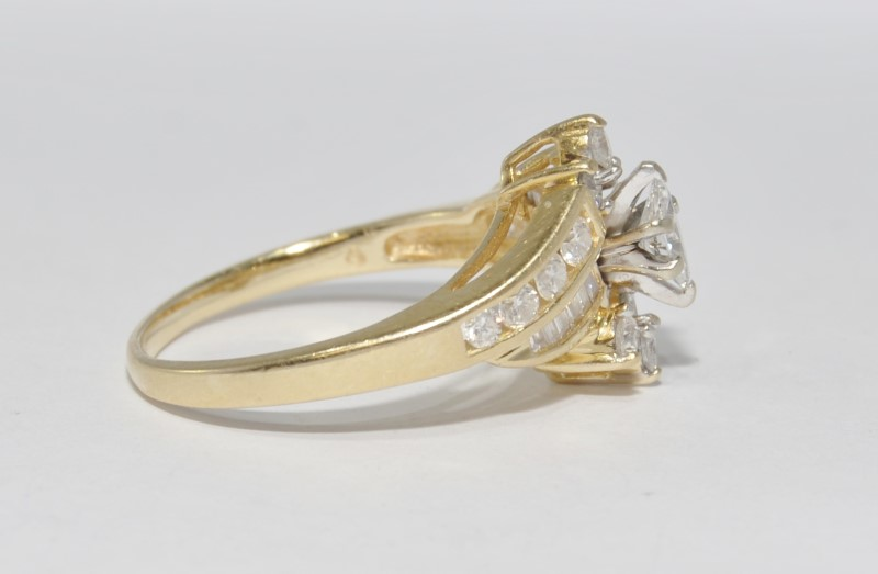 14K Yellow Gold Bypass Shank Marquis Diamond Engagement Ring w/ Accents Sz 11.5