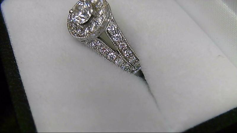 Lady's 37 Diamond Halo 14K White Gold Engagement Ring