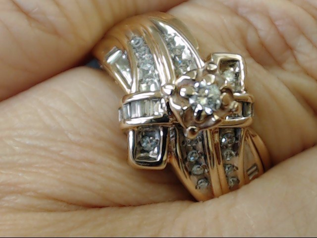 VINTAGE NATURAL DIAMOND ENGAGE WED RING SOLID REAL 10K GOLD  SIZE 7