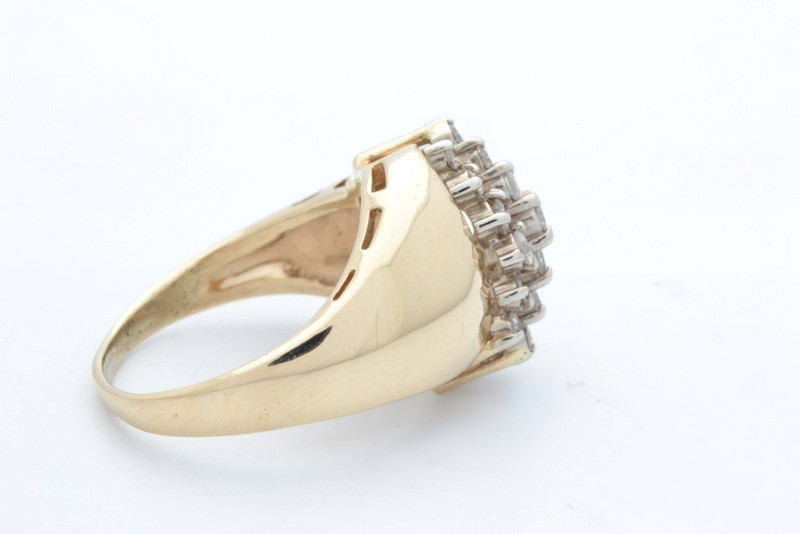ESTATE DIAMOND RING SOLID 10K GOLD CLUSTER COCKTAIL WATERFALL SZ 6.25